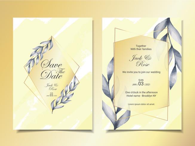 Modello di carte di invito matrimonio di lusso di acquerello minimalista lascia con cornice dorata e bellissimo sfondo astratto vettore