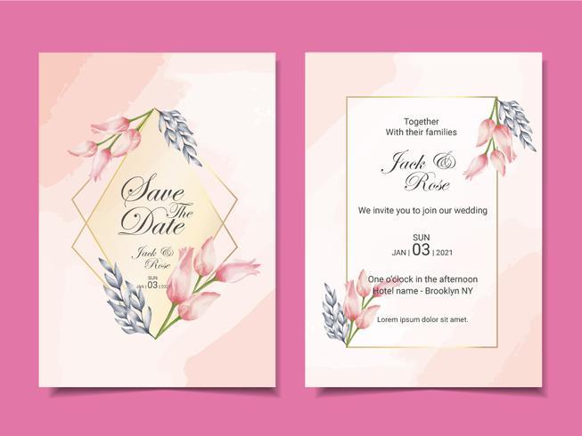 Modello di carte di invito matrimonio di lusso di tulipani e foglie dell'acquerello con cornice dorata e bellissimo sfondo astratto vettore