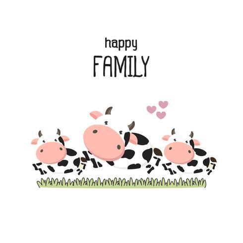 Cute cow Family Father Madre e bambino. vettore