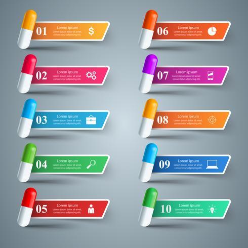 Pillola della compressa, icona di farmacologia. Infografica 10 elementi. vettore