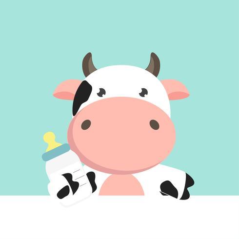 Cute cartoon baby Cow. vettore