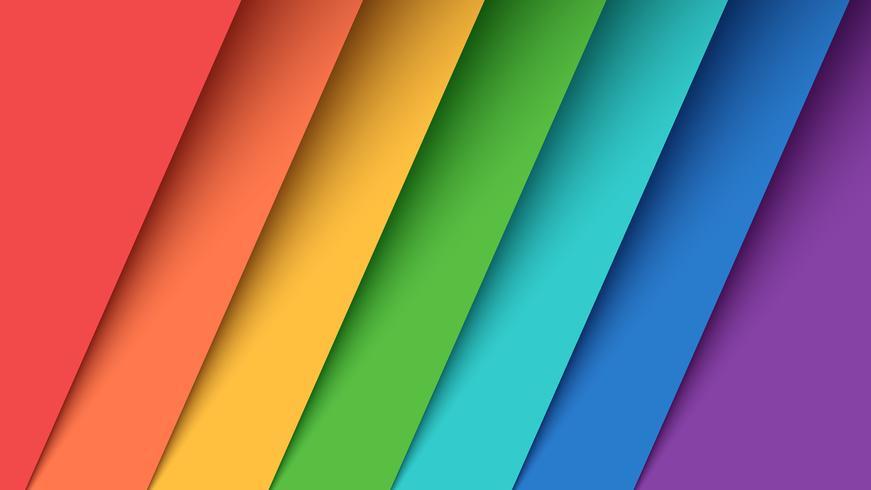 Imposta sette carte a colori. Arcobaleno. vettore