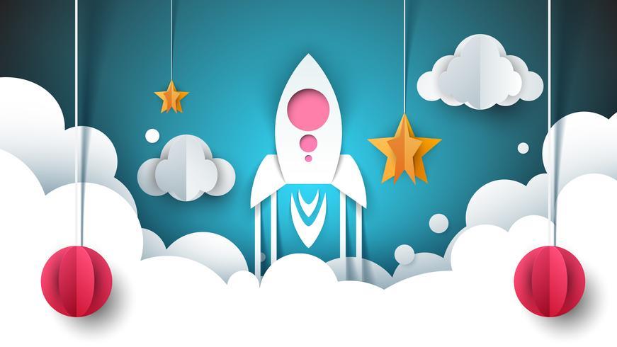 Illustrazione di paesaggio di carta dei cartoni animati. Razzo, stella, nuvola, cielo. vettore