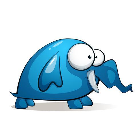 Cartoon charater carino elefante divertente. vettore