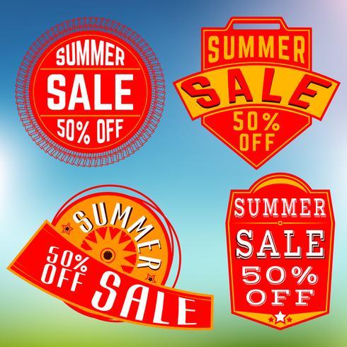 Francobolli di vendita estivi, insegne vettore