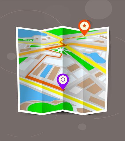 Mappa piegata città astratta con indicatori di posizione. vettore