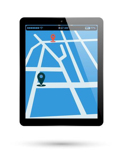 Posizione della mappa del tablet vettore