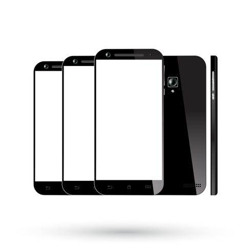 Set di smartphone neri vettore