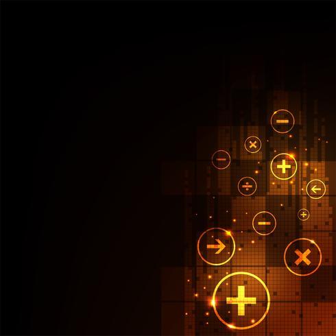 Calcolo digitale su uno sfondo arancione scuro. vettore