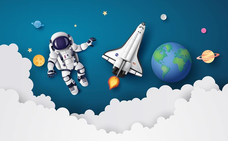 Astronauta Astronauta che galleggia nella stratosfera. vettore