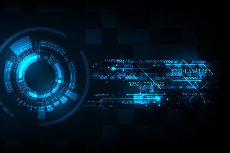 Vettore nel concetto di tecnologia su uno sfondo blu scuro.
