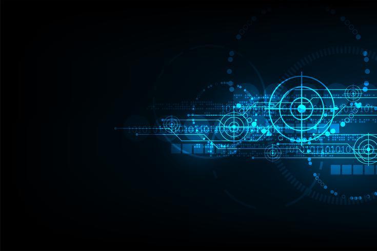 Tecnologia che porta all'obiettivo. vettore