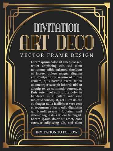 Stile vintage art deco del telaio di lusso. illustrazione vettoriale