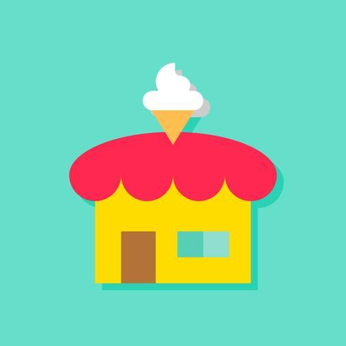 Illustrazione di vettore del negozio di gelato, icona di stile piano