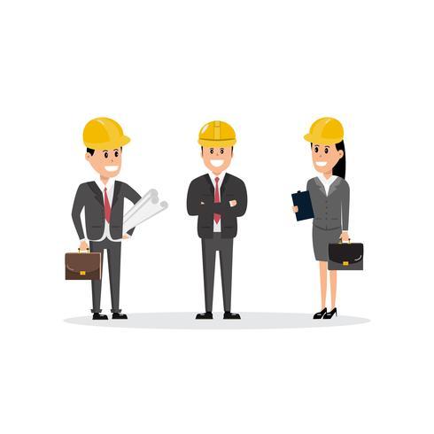 Lavoratori edili squadra personaggi gruppo caporeparto architetto e investitore vettore