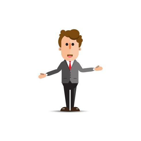 personaggio dei cartoni animati uomo d'affari isolato su sfondo bianco vettore