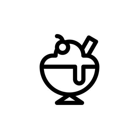 Illustrazione di vettore di gelato coppa gelato, icona linea stile dolci