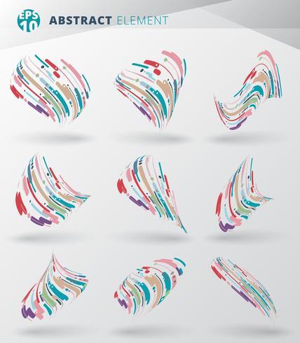Set di astratto stile moderno con composizione fatta di varie linee di avvolgimento cerchio forme arrotondate 3d in colorato contorto. vettore