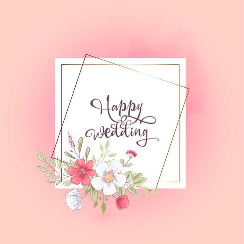 Modello dell'acquerello per una festa di compleanno di compleanno con fiori e spazio per il testo. Disegno a mano Illustrazione vettoriale