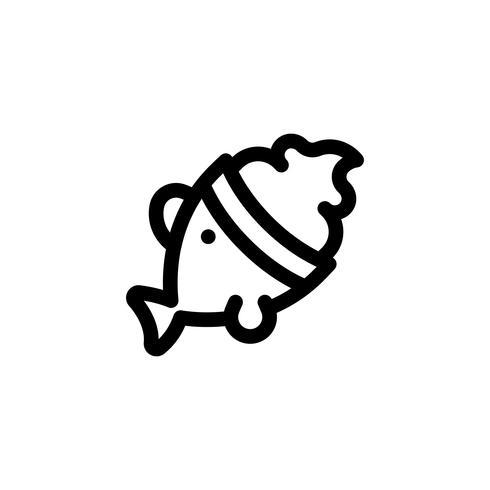 Illustrazione di vettore del gelato a forma di pesce, icona di stile di linea di dolci