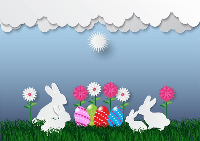 Uova di Pasqua decorative su erba verde e nuvola bianca, illustrazione di vettore