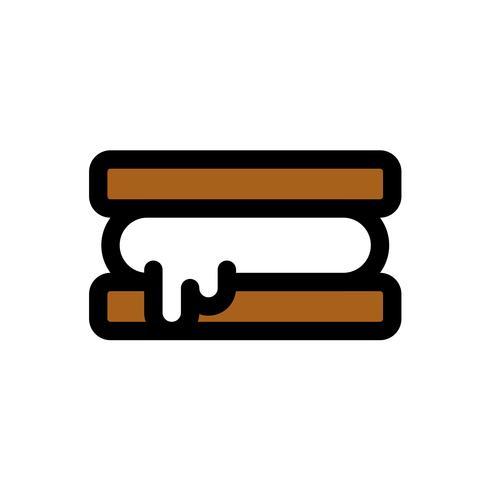 Vettore del panino del gelato, profilo editabile dell'icona riempito dolci