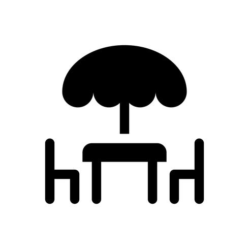 Illustrazione di vettore di tavolo e sedia, icona di stile solido