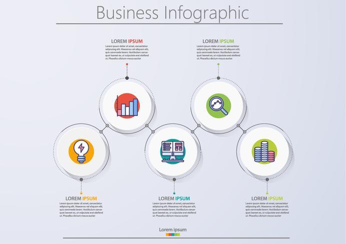 Modello di business infografica presentazione con 5 opzioni. vettore