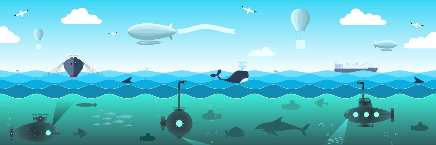Vista sul mare aperto da sottomarini, pesci, navi, dirigibili vettore