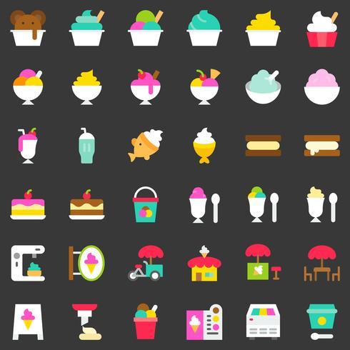 Insieme dell'icona di vettore del gelato, stile piano