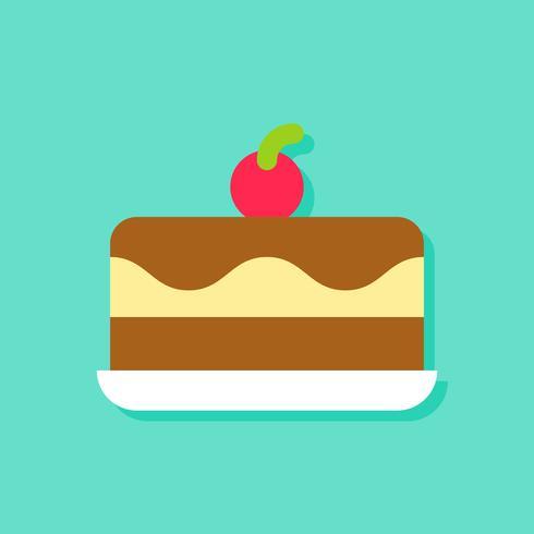 Illustrazione di vettore del gelato torta, icona di stile piano di dolci