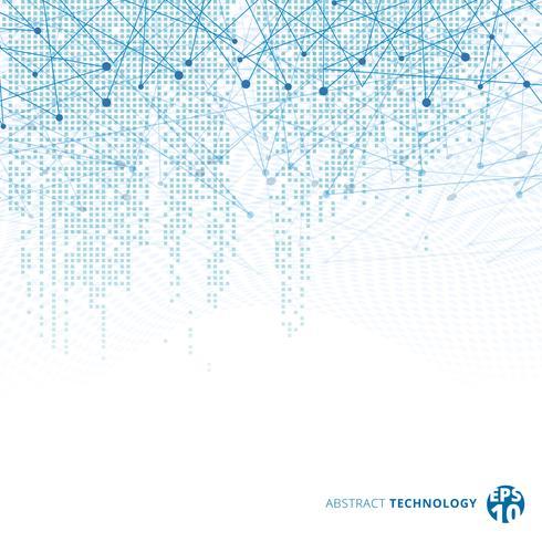 Il pixel blu del modello del quadrato di dati digitali di tecnologia astratta con le linee collega i punti sul fondo bianco di colore. vettore