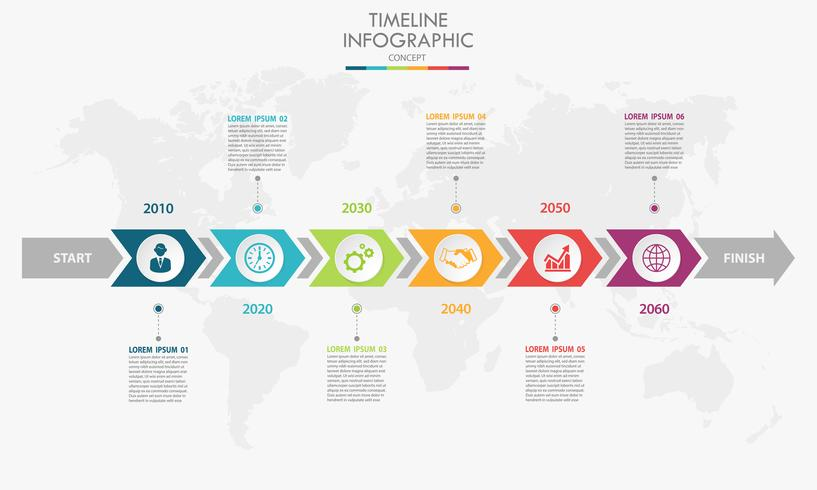 Modello di business infografica presentazione con 6 opzioni. vettore