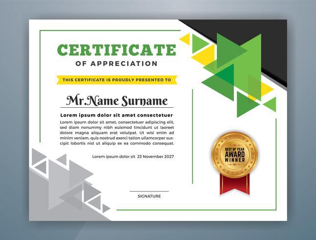 Modello di certificato professionale multiuso. Illustrazione astratta di vettore verde