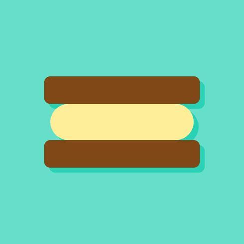 Illustrazione vettoriale di gelato panino, icona di stile piano di dolci