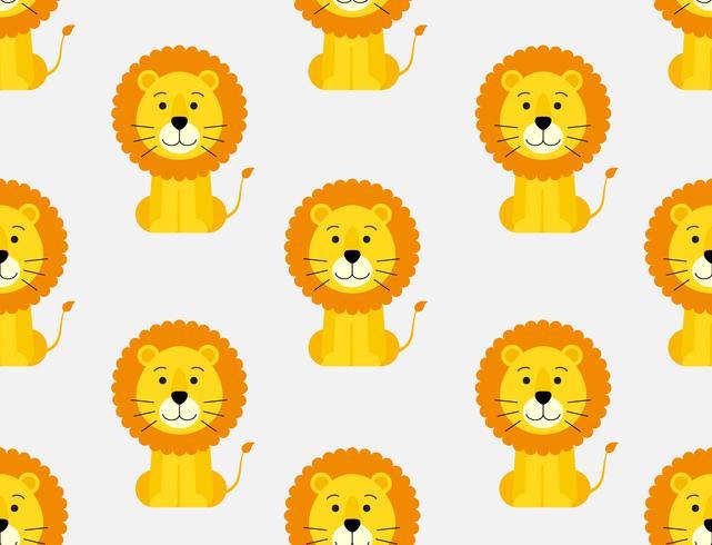 Modello senza cuciture della priorità bassa del leone simpatico cartone animato vettore