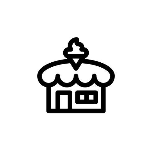 Illustrazione di vettore del negozio di gelato, icona di stile di linea