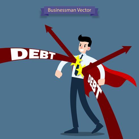 Eroe da uomo d'affari che indossa un mantello rosso in piedi e si tiene duro dal debito della freccia che lo attacca. vettore