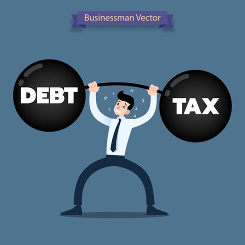 Uomo d'affari che alza pesantemente un manubrio pesante di debito e di imposta. vettore