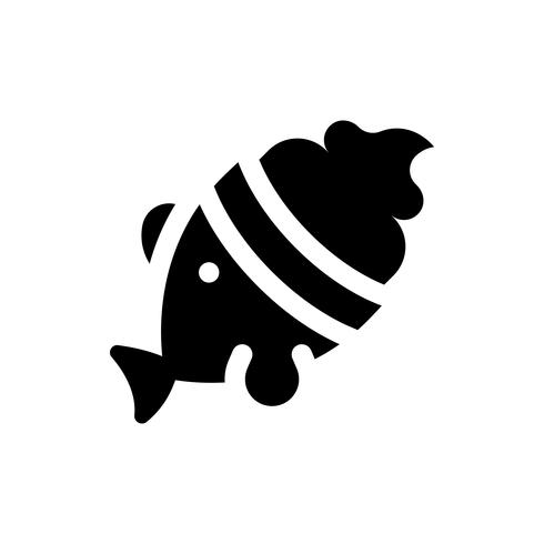 Illustrazione di vettore del gelato a forma di pesce, icona di stile solido di dolci