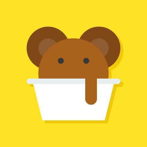 Illustrazione di vettore della tazza di gelato, icona di stile piano di dolci