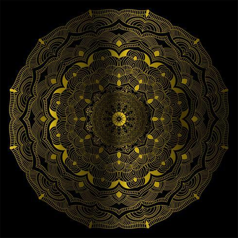 Illustrazione decorativa d'annata di vettore della mandala di colore dell'oro