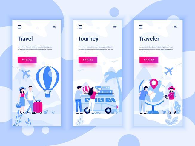 Set di kit di interfaccia utente per schermi onboarding per Travel, Journey, Traveler, concept di modelli di app per dispositivi mobili. UX moderno, schermo dell'interfaccia utente per sito web mobile o reattivo. Illustrazione vettoriale