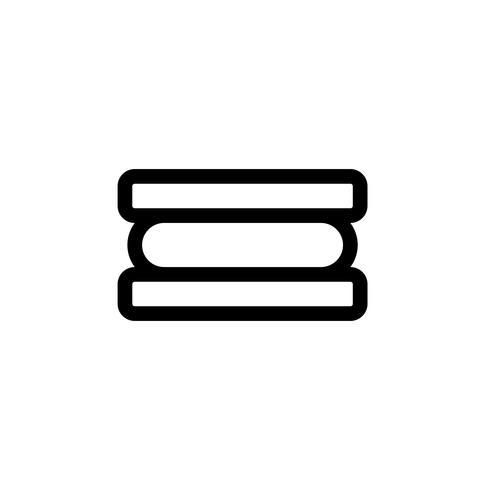 Illustrazione di vettore del panino del gelato, icona di stile della linea dei dolci