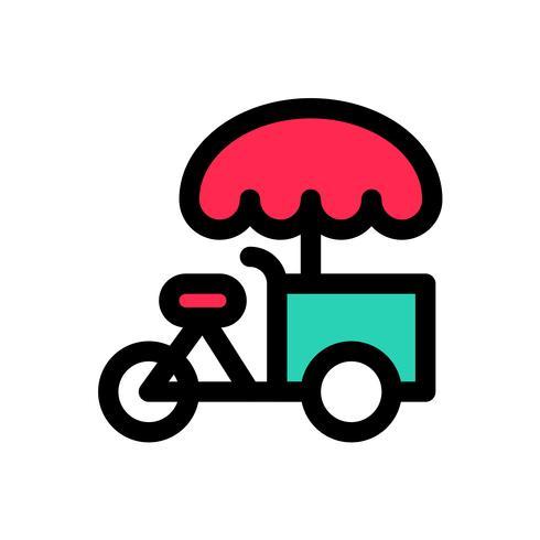 Vettore della bici del gelato, profilo editabile dell'icona riempita
