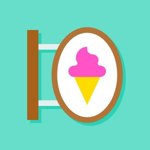 Illustrazione di vettore del segno del negozio di gelato, icona piana di stile
