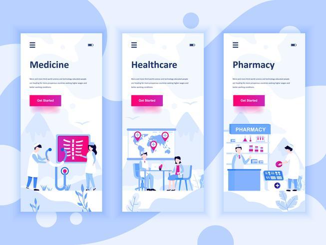 Set di kit di interfaccia utente per schermi onboarding per Medicina, Sanità, Farmacia, concetto di modelli di app per dispositivi mobili. UX moderno, schermo dell'interfaccia utente per sito web mobile o reattivo. Illustrazione vettoriale
