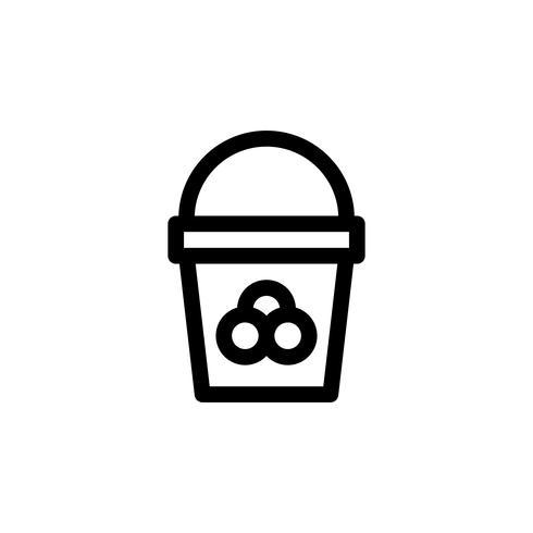 Illustrazione di vettore del secchio del gelato, icona di stile di linea di dolci