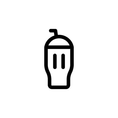 Illustrazione di vettore del frappè del gelato, icona di stile della linea dei dolci