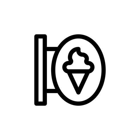 Illustrazione di vettore del segno del negozio di gelato, icona di stile della linea